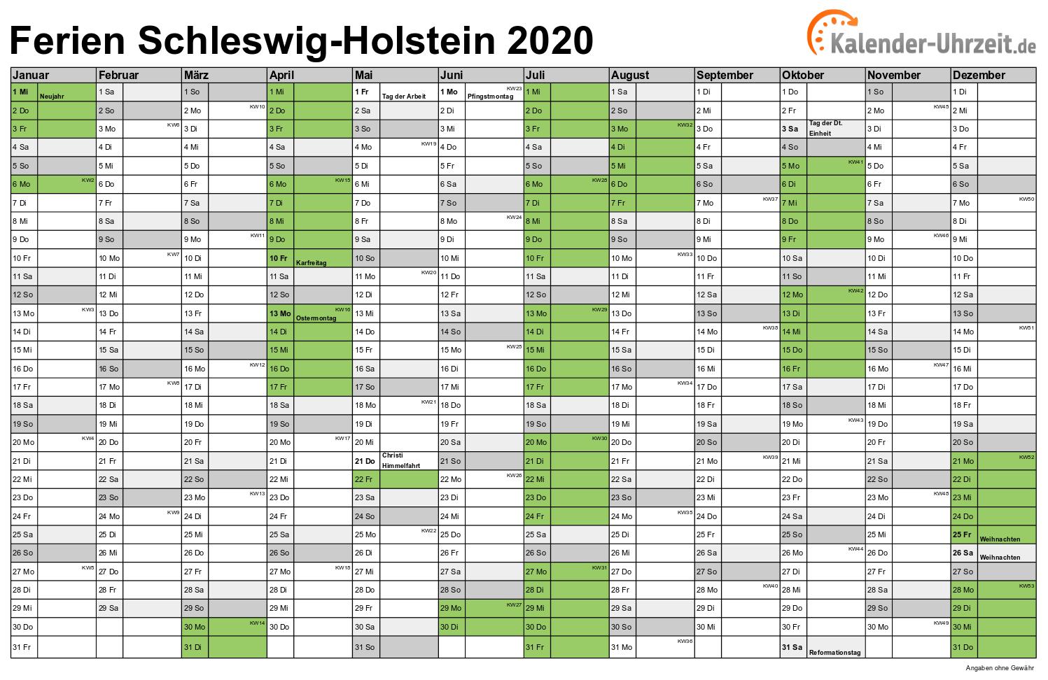ferienkalender schleswig holstein 2019