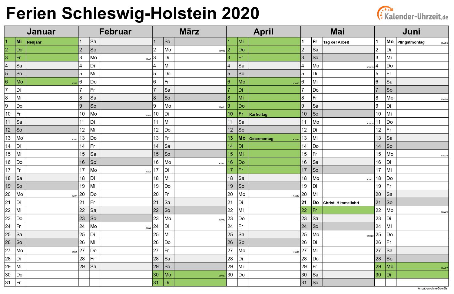 kalender 2020 mit ferien