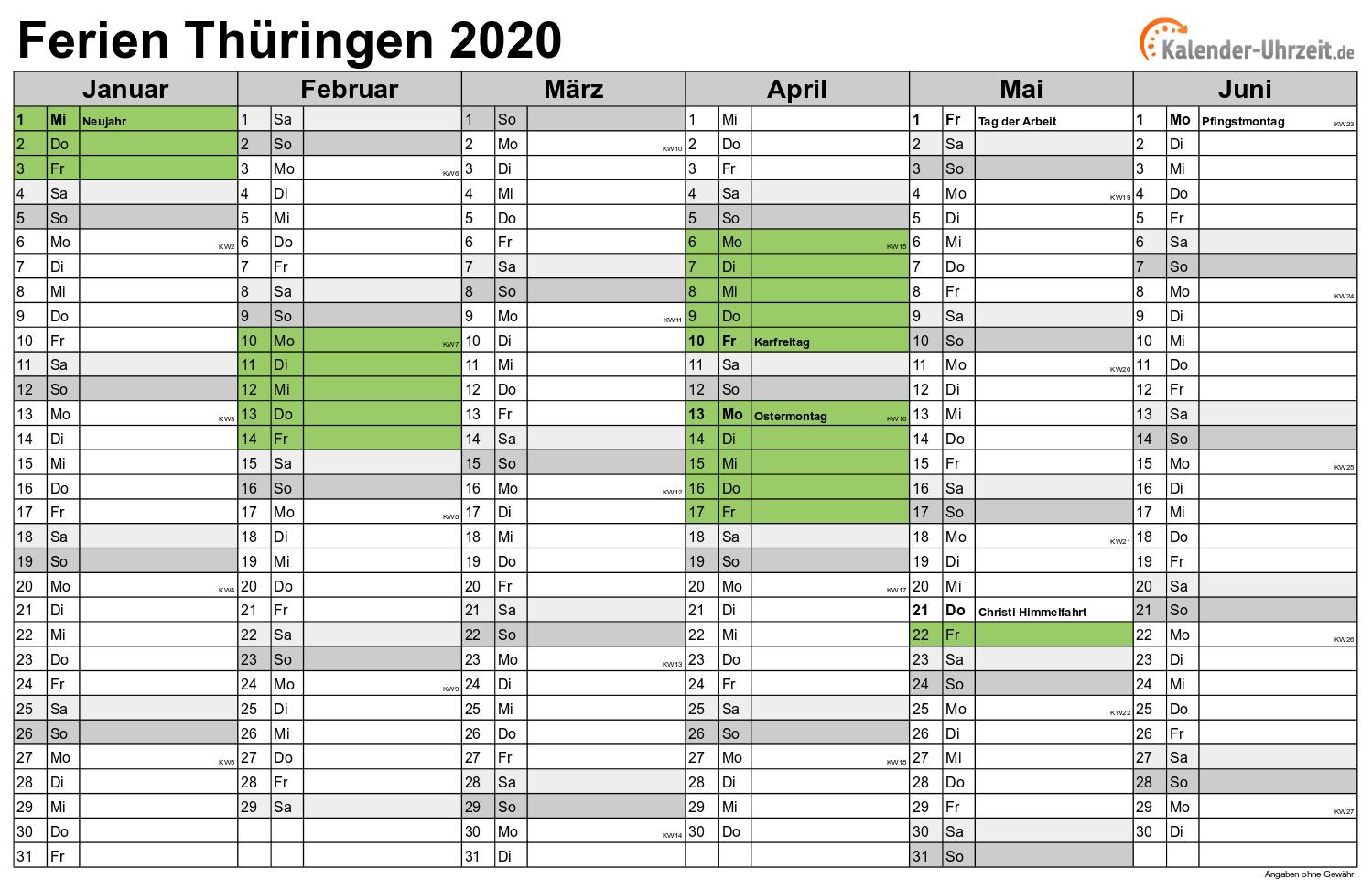 Feiertage 2020 ThГјringen