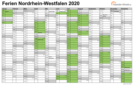 Kalender 2021 Mit Ferien Nrw Zum Ausdrucken