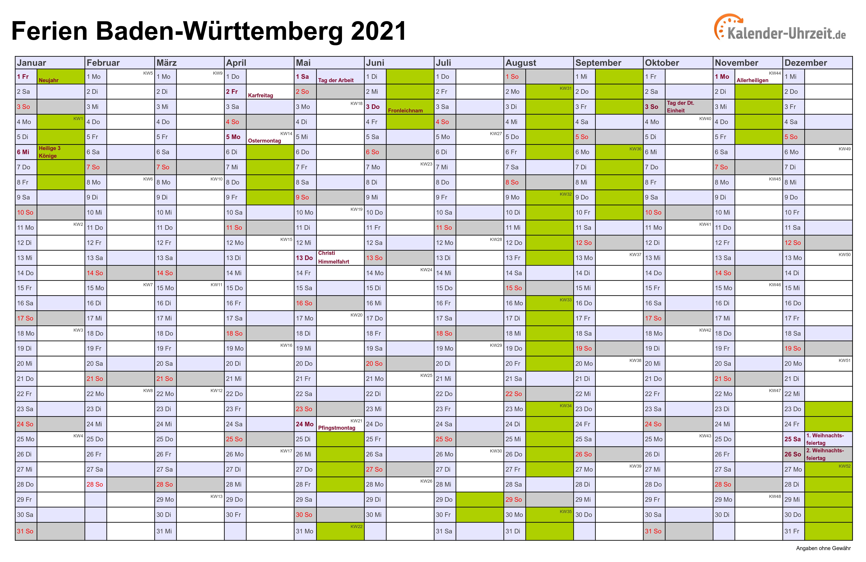 Kalender Bw 2021