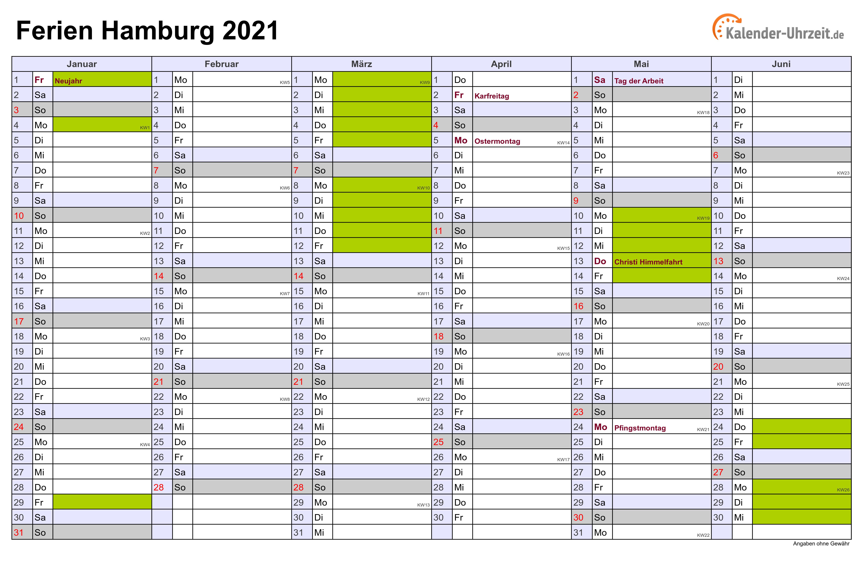 Hamburger Schulferien 2021