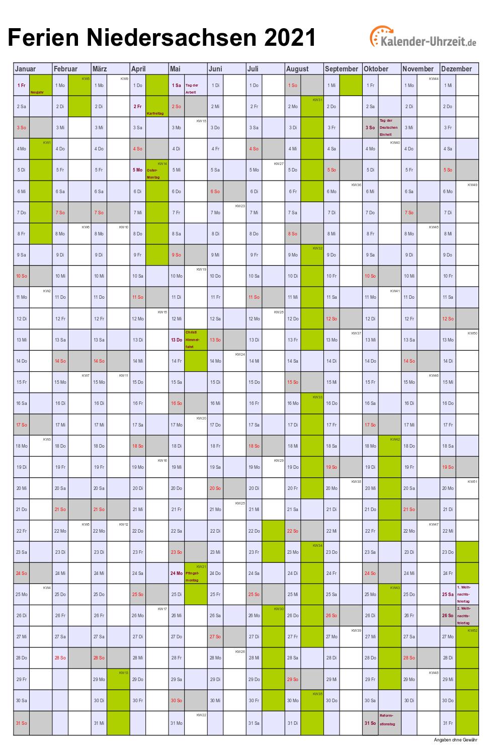 Ferien Niedersachsen 2021 - Ferienkalender zum Ausdrucken