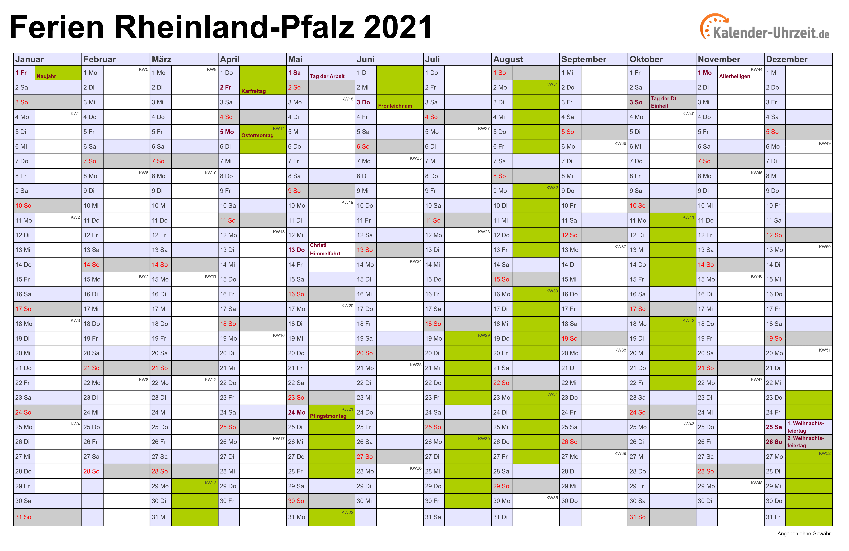 Jahreskalender 2021 Rlp