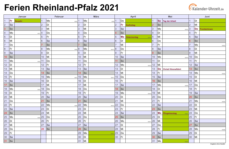 Kalender 2021 Mit Ferien Thüringen Zum Ausdrucken ...