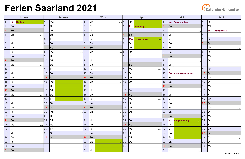 Ferien 2021 Saarland