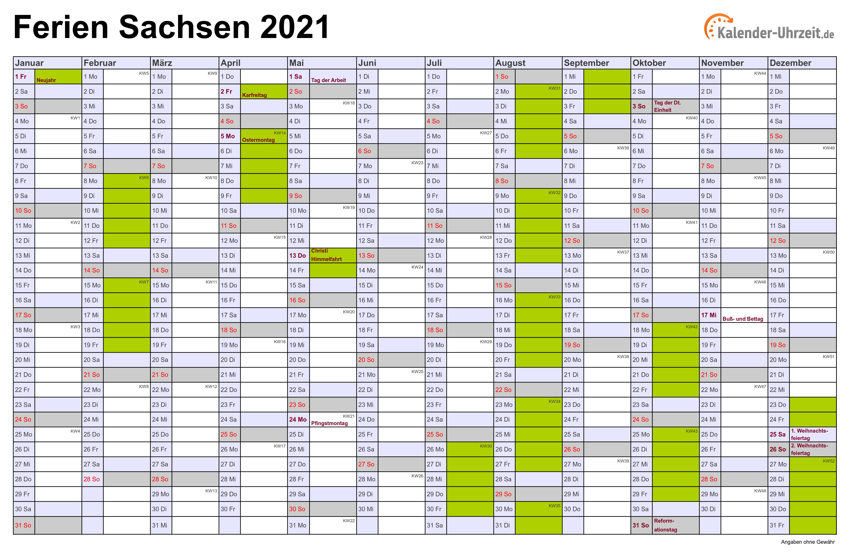 Ferien sachsen 2020 kalender