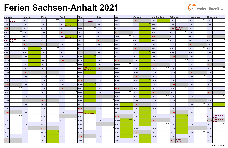 Winterferien 2021 Sachsen Anhalt