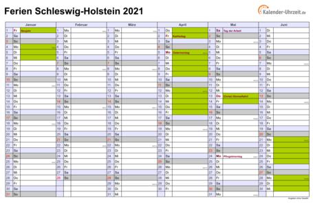 Ferien Schleswig-Holstein 2021 - Ferienkalender zum Ausdrucken