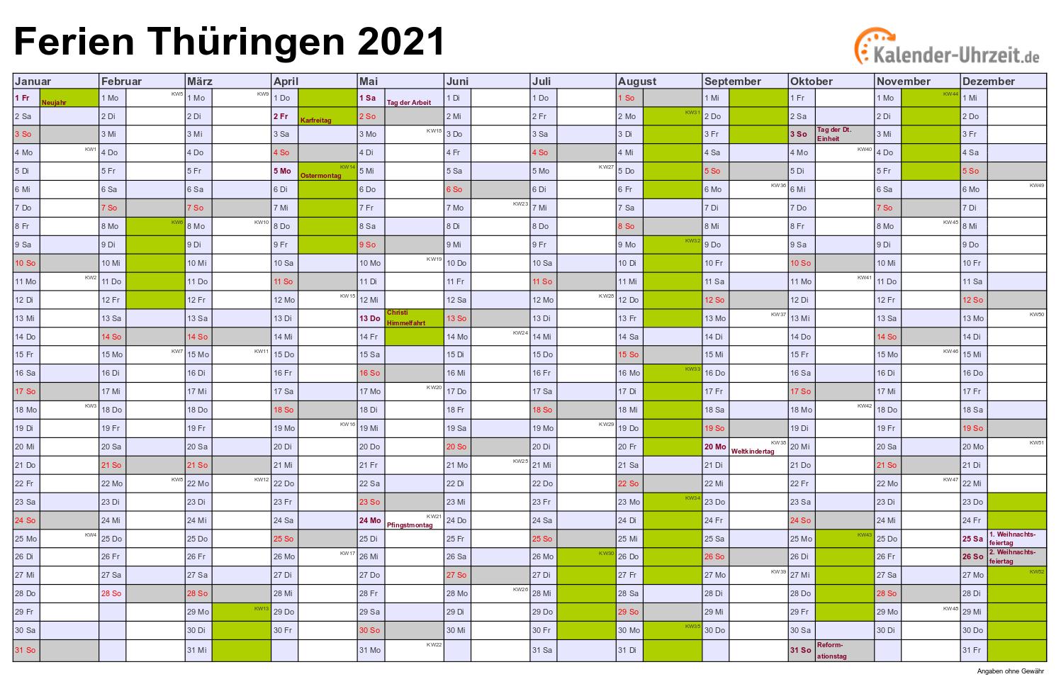 Schulkalender 2021 Kalender 2021 Hessen Zum Ausdrucken ...