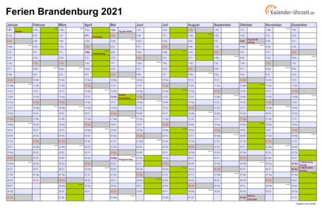 Ferien Brandenburg 2021 - Ferienkalender zum Ausdrucken