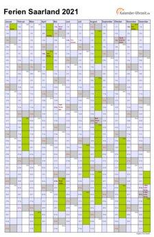 Ferien Saarland 2021 - Ferienkalender zum Ausdrucken