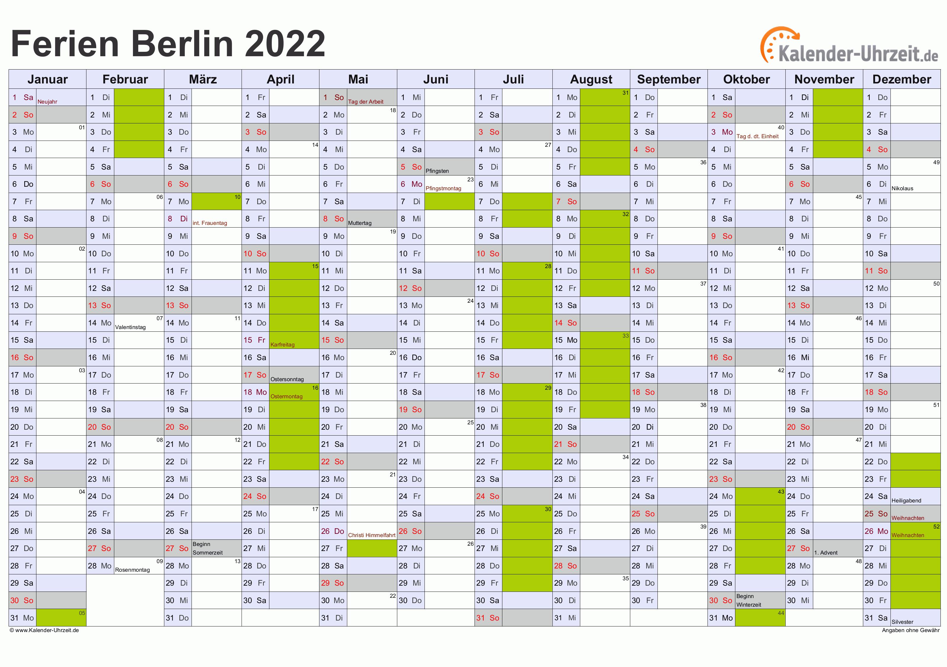 Ferien Berlin 2022 - Ferienkalender zum Ausdrucken