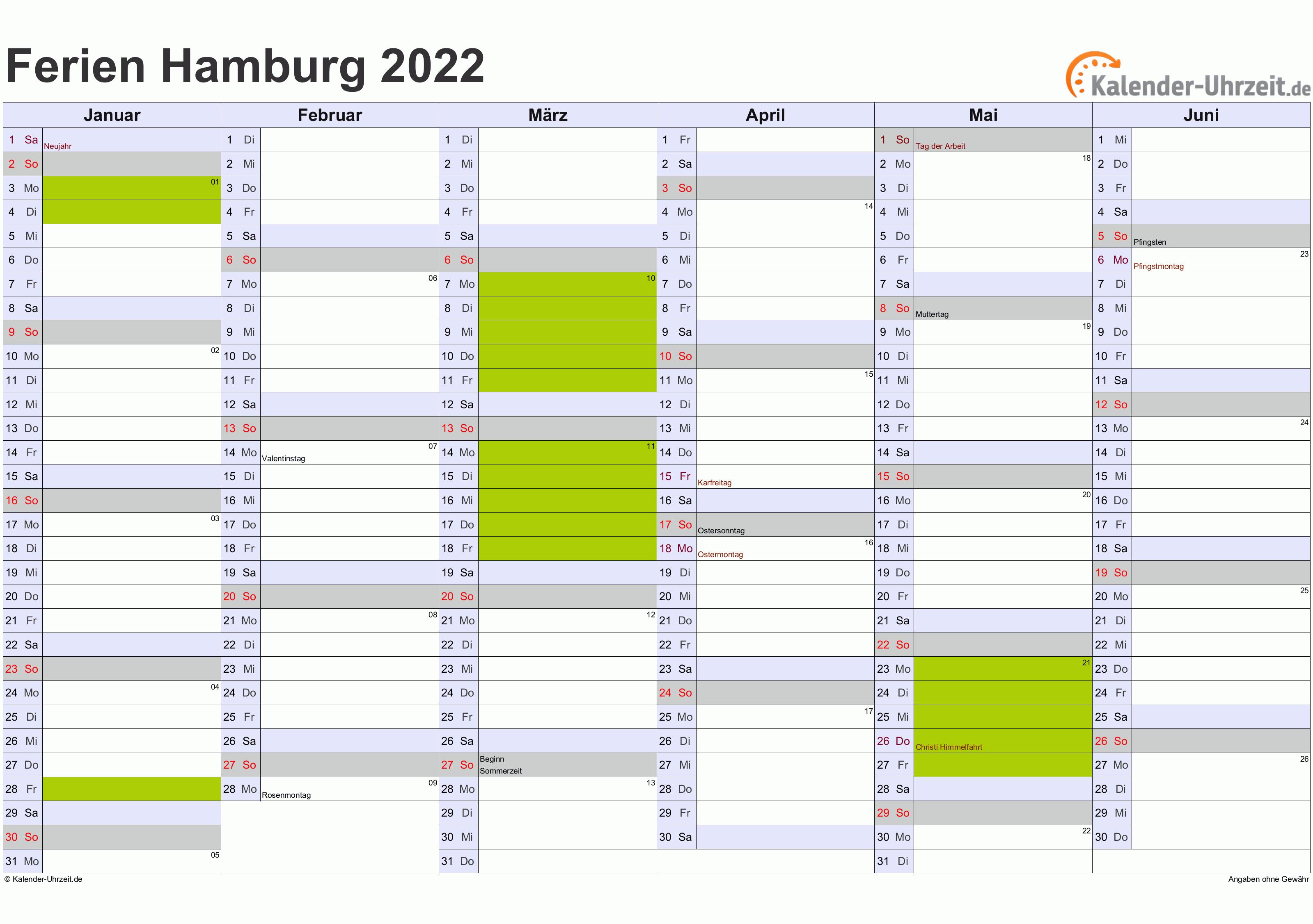 Ferien Hamburg 2022 - Ferienkalender zum Ausdrucken