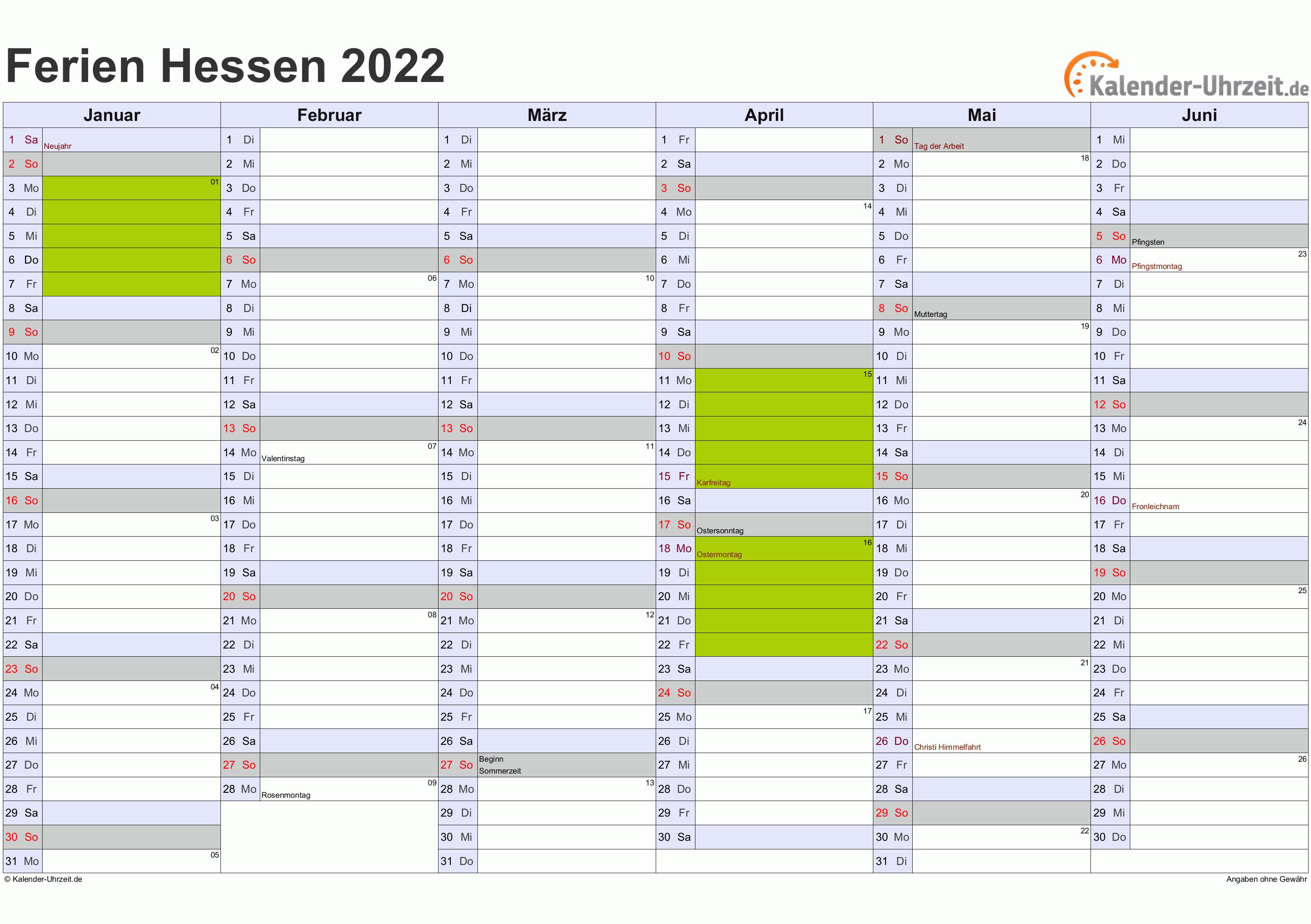 Ferien Hessen 2022 - Ferienkalender zum Ausdrucken