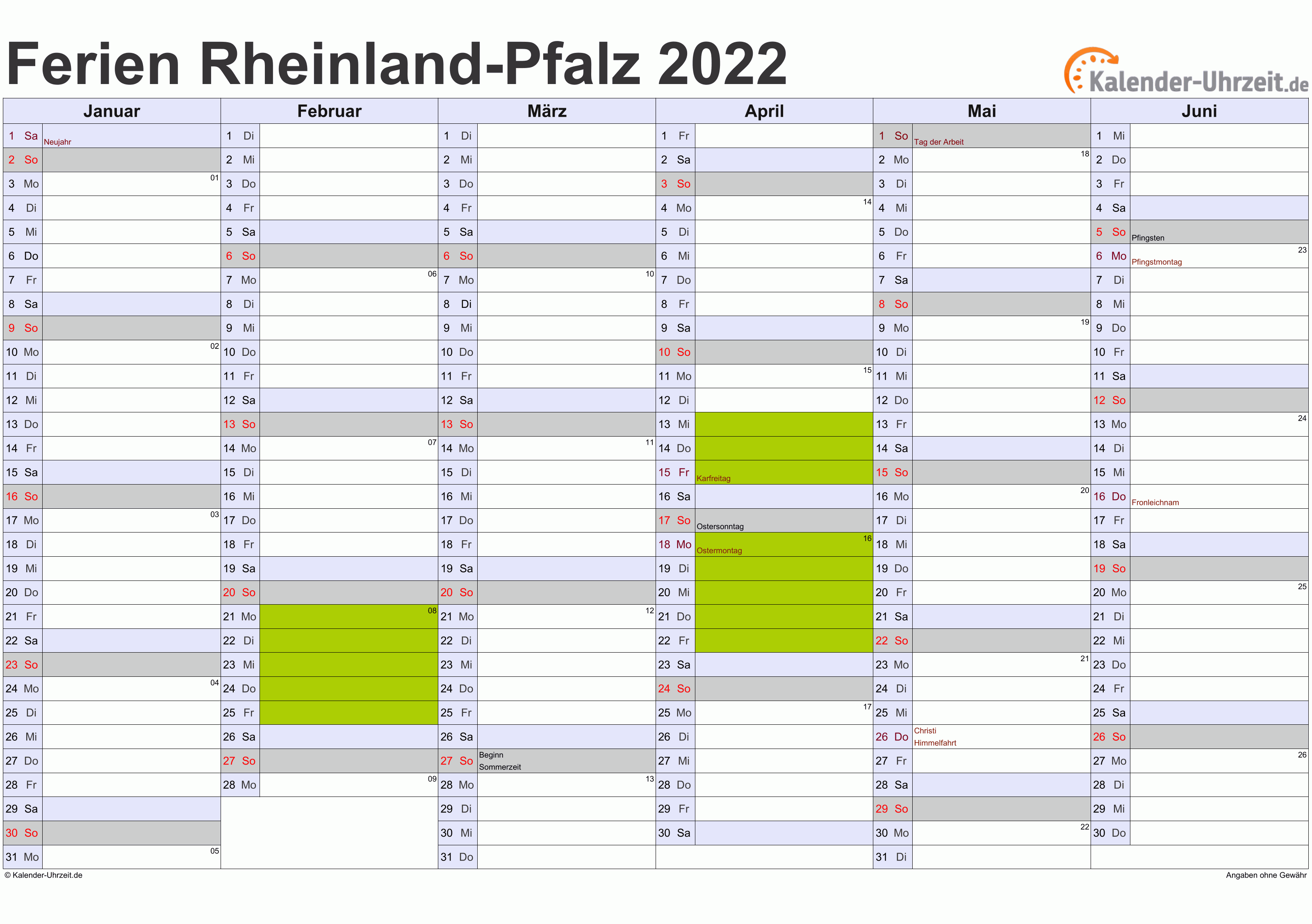 Ferien Rheinland-Pfalz 2022 - Ferienkalender zum Ausdrucken
