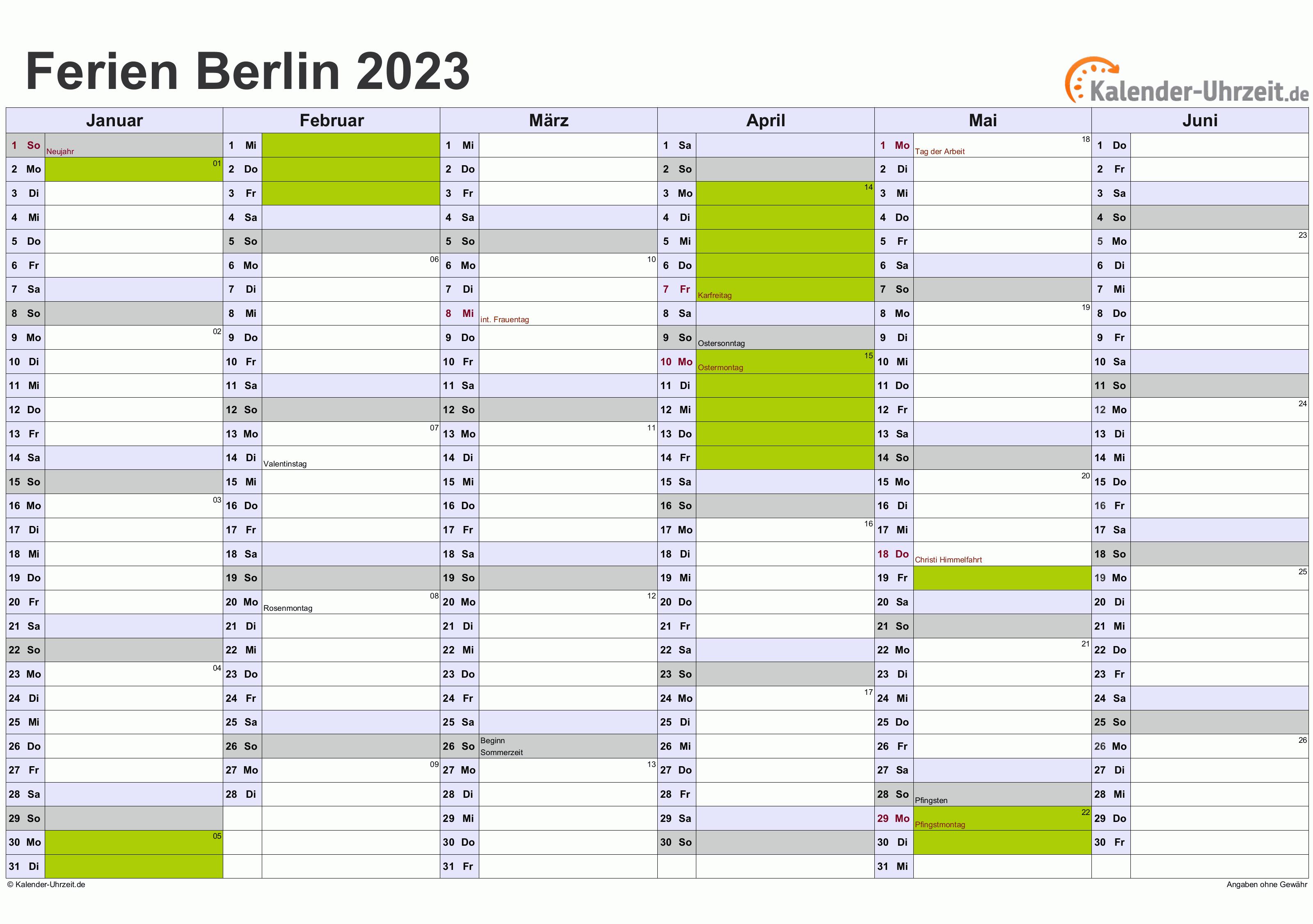 Berlin Ferienkalender