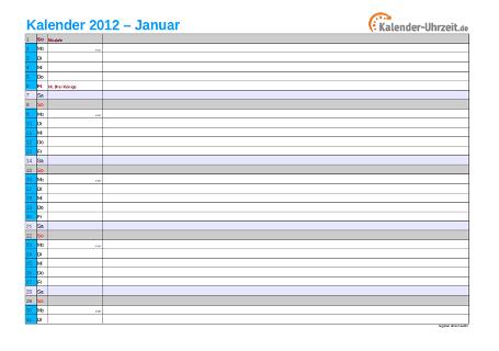 Kalender 2012 mit Feiertagen - 12-seitig
