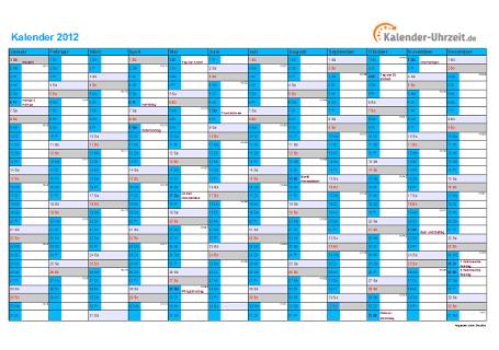 Kalender 2012 mit Feiertagen - 1-seitig