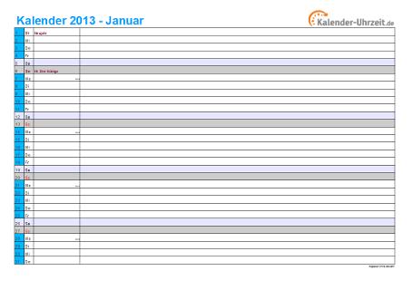 Kalender 2013 mit Feiertagen - 12-seitig