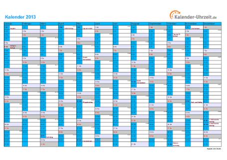 Kalender 2013 mit Feiertagen - 1-seitig