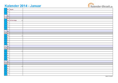Kalender 2014 mit Feiertagen - 12-seitig