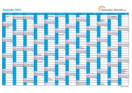 Kalender 2014 mit Feiertagen - 1-seitig