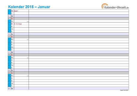 Kalender 2015 mit Feiertagen - 12-seitig