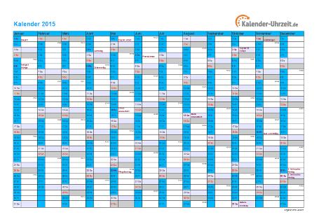Kalender 2015 mit Feiertagen - 1-seitig