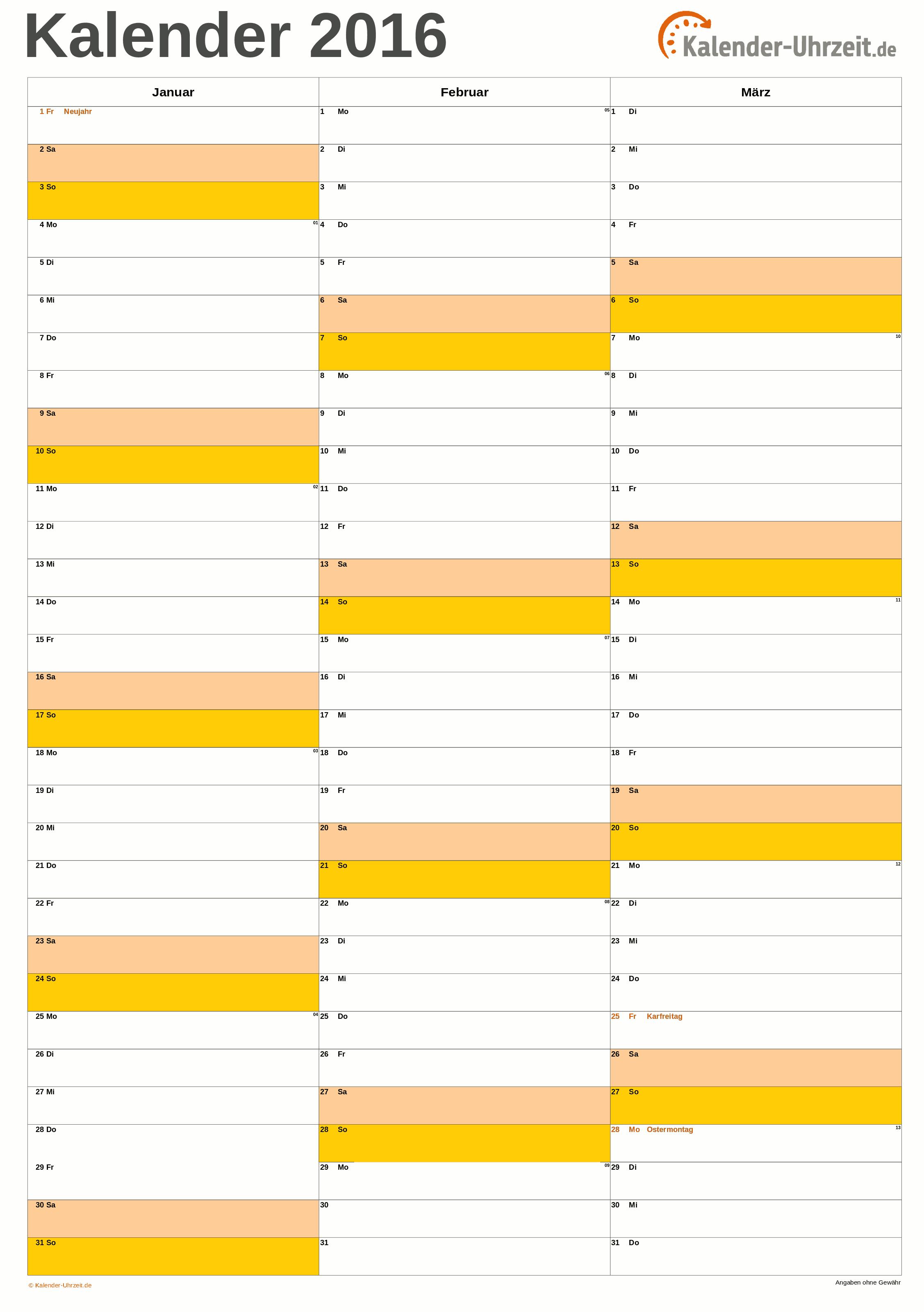 Kalender 2018 Excel Vorlage