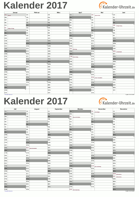 Kalender 2017 A5-PDF-Vorlage 5 Vorschau