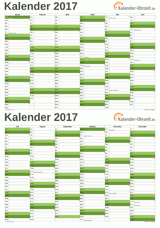 Kalender 2017 A5-PDF-Vorlage 3 Vorschau