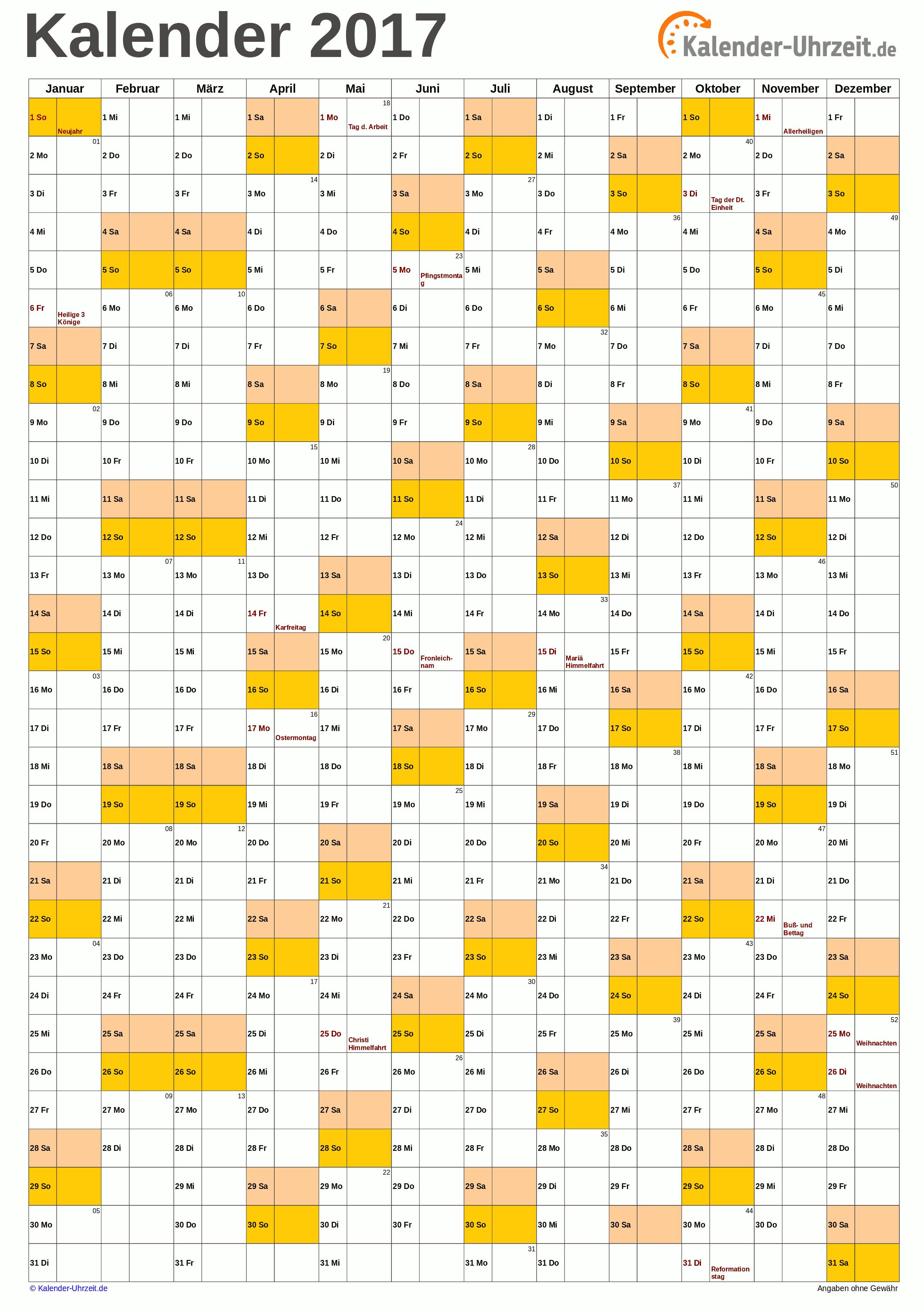 Jahreskalender 2017 A4-Hochformat V1 Vorschau