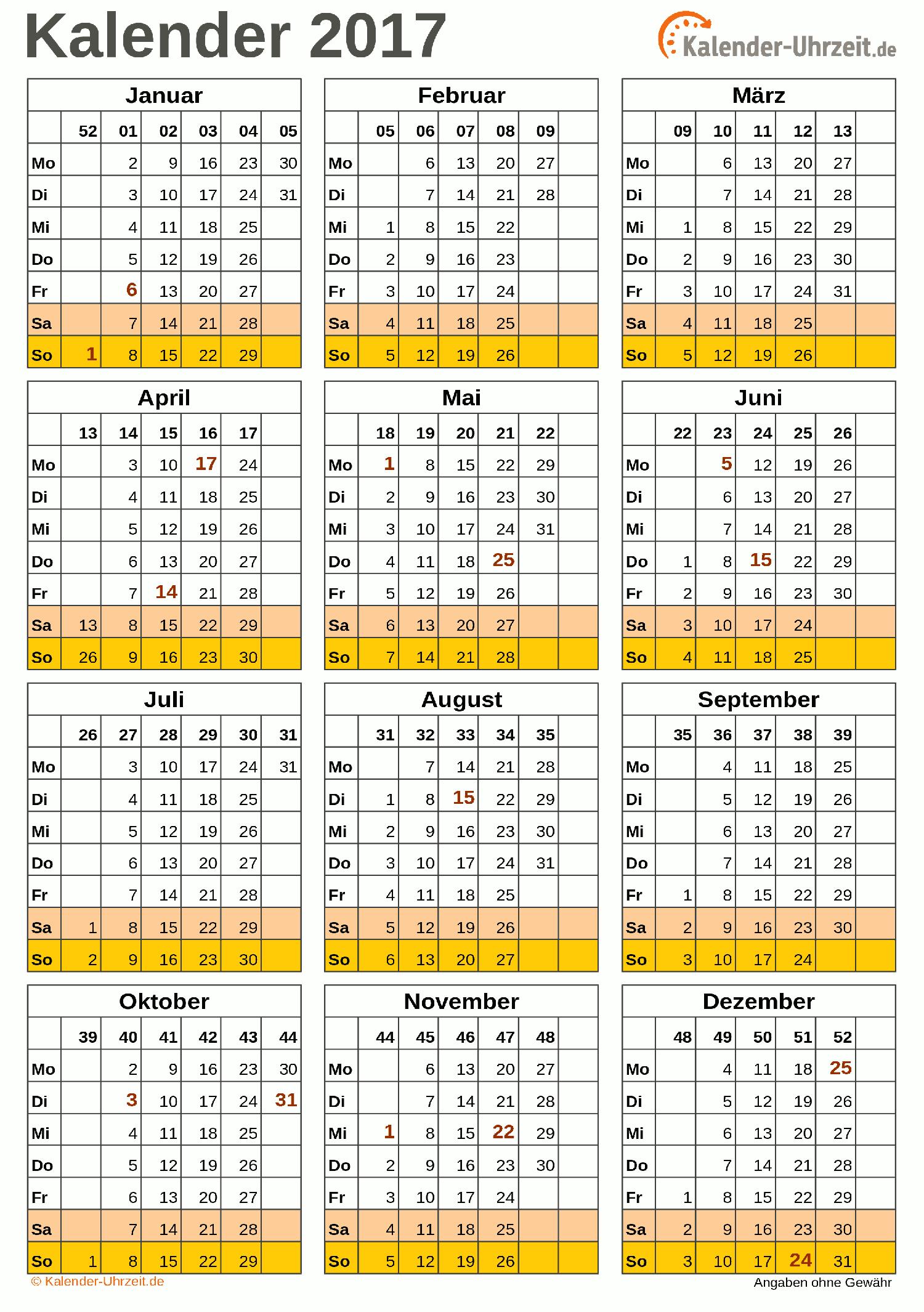 Jahreskalender 2017 A4-Hochformat V2 Vorschau