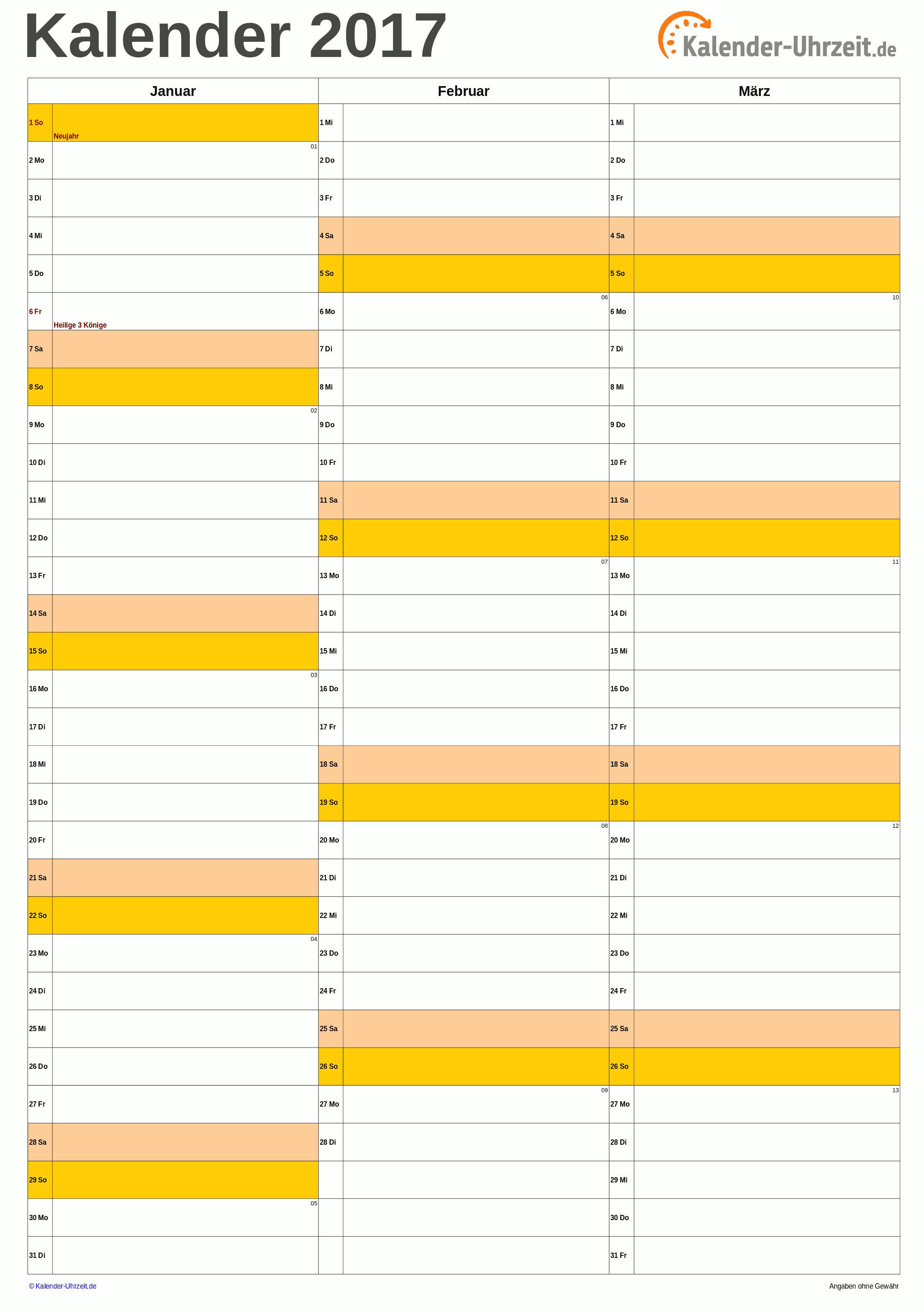 Quartalskalender 2017 A4-Hochformat Vorschau