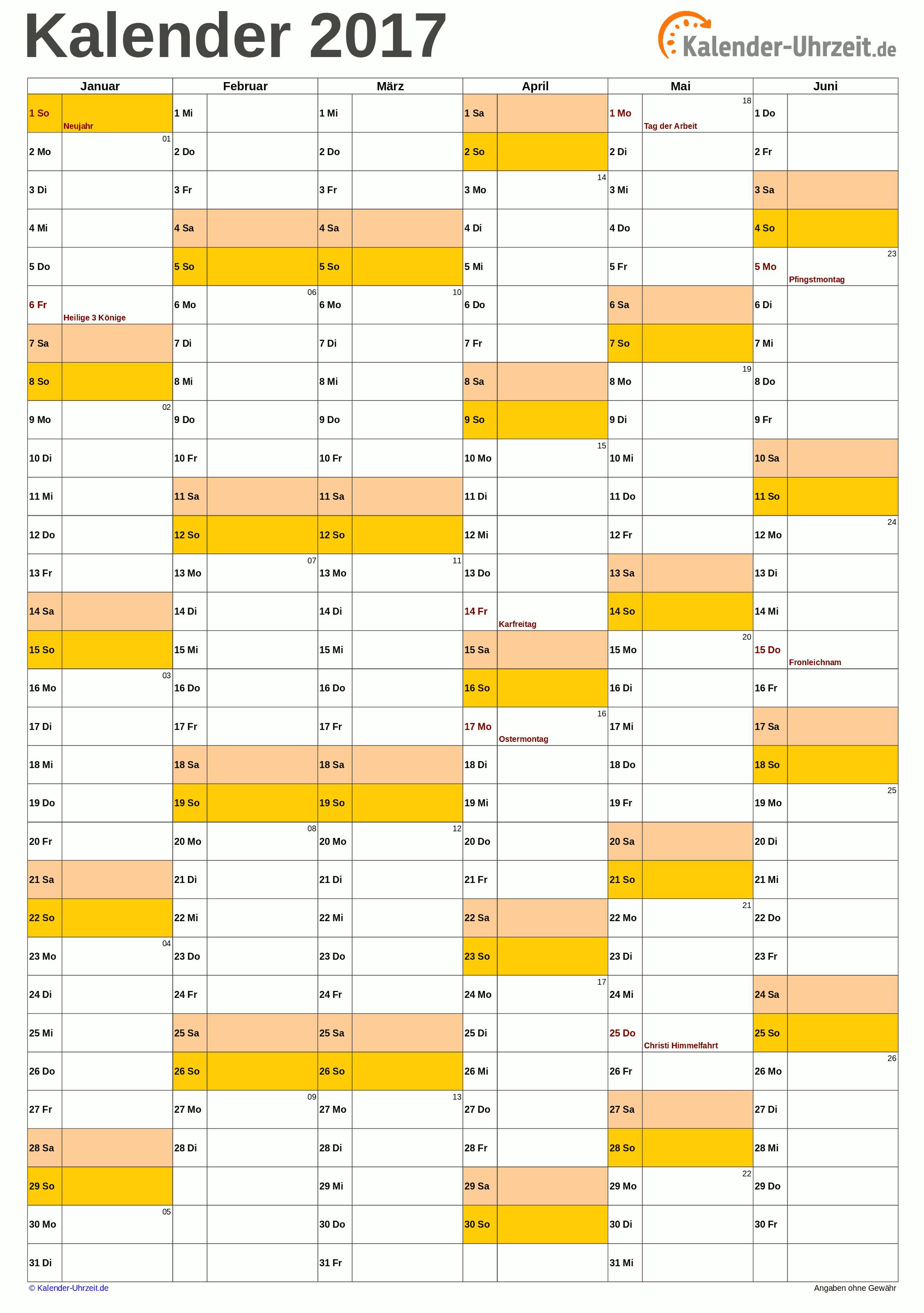 Halbjahreskalender 2017 A4-Hochformat Vorschau
