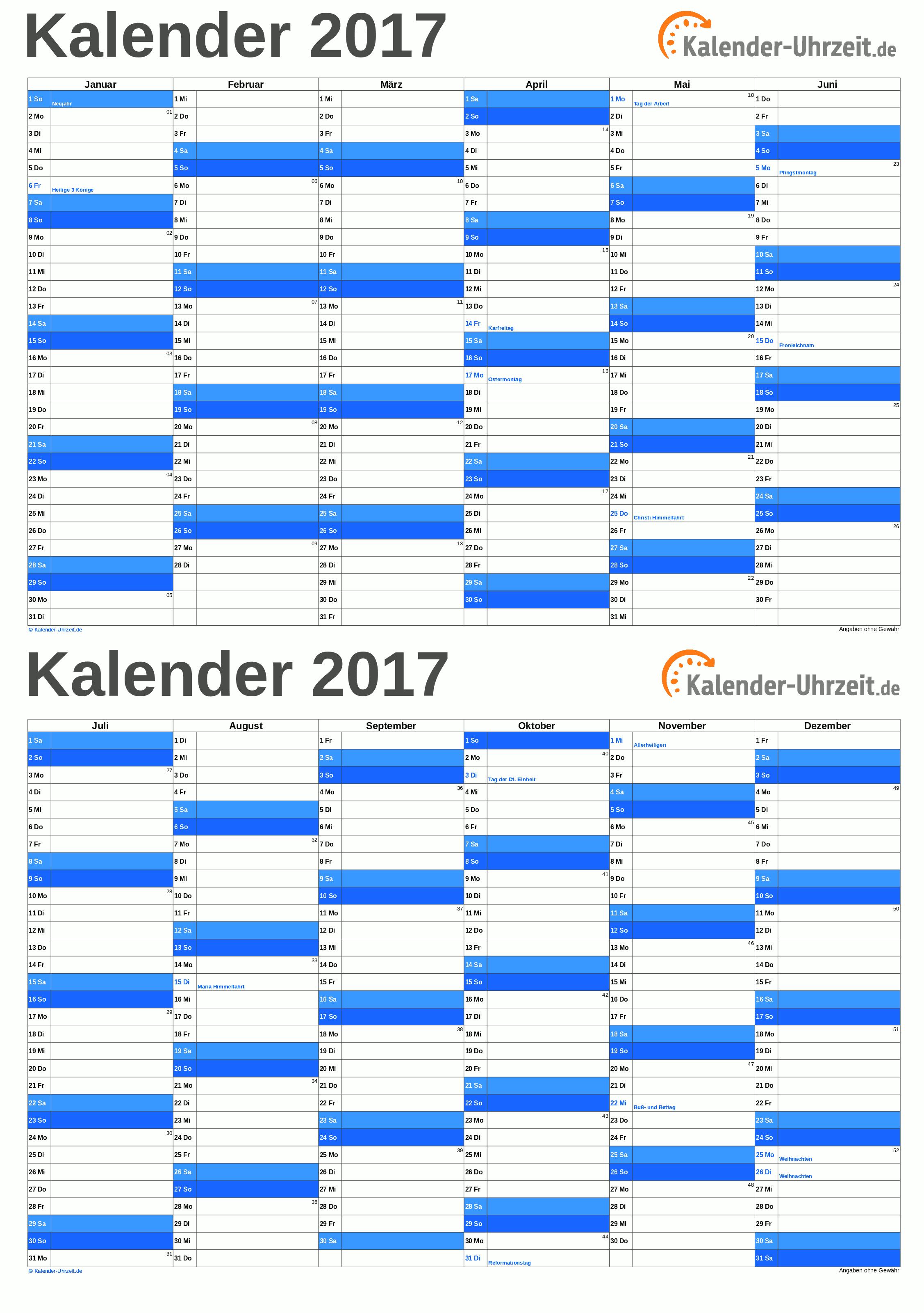EXCEL-KALENDER 2017 - KOSTENLOS