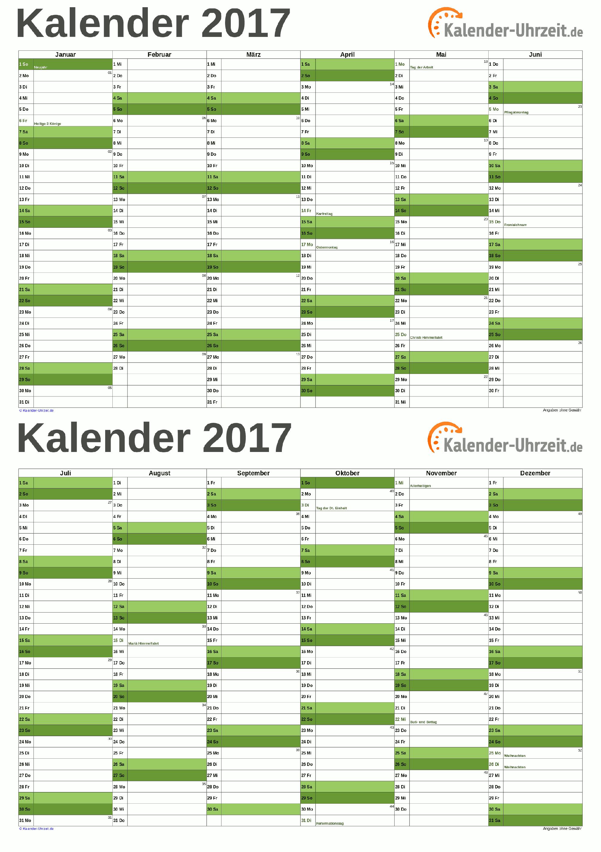 KALENDER 2017 ZUM AUSDRUCKEN - KOSTENLOS