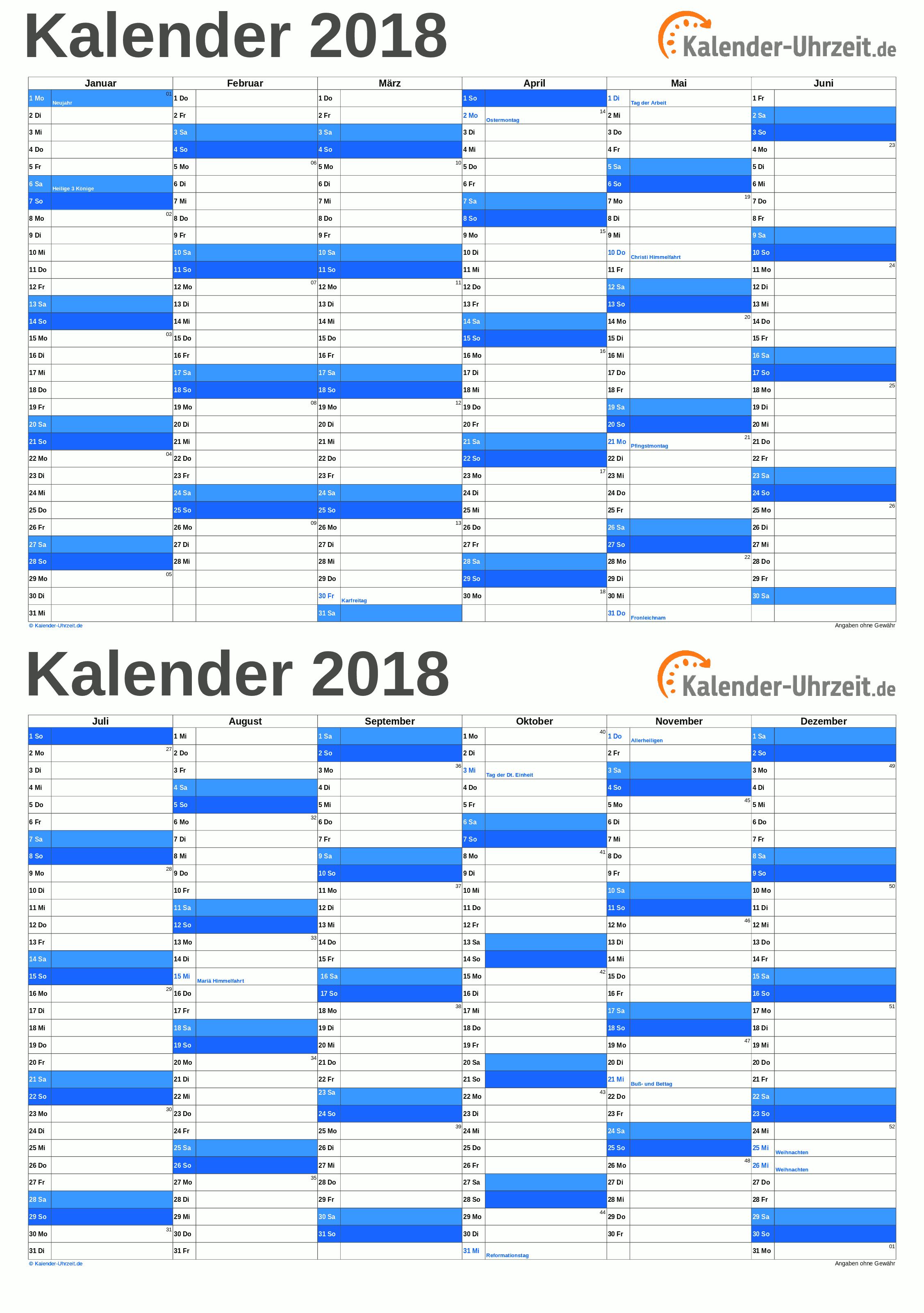 Kalender 2018 A5-Excel-Vorlage 2 Vorschau