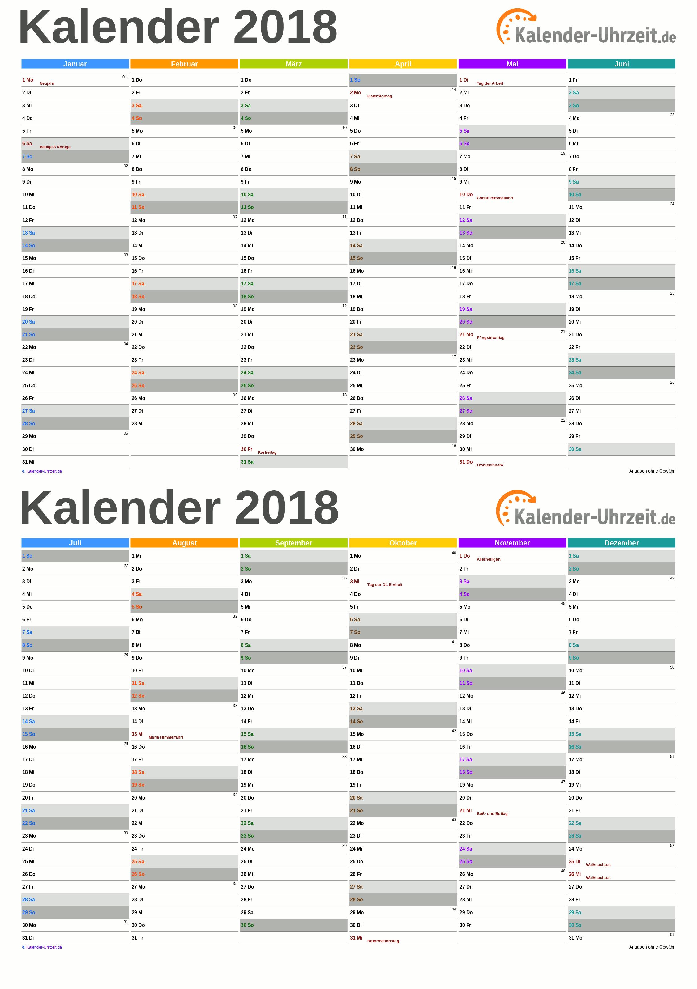 Kalender 2018 A5-Excel-Vorlage 4 Vorschau