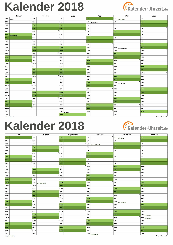 Kalender 2018 A5-Excel-Vorlage 3 Vorschau