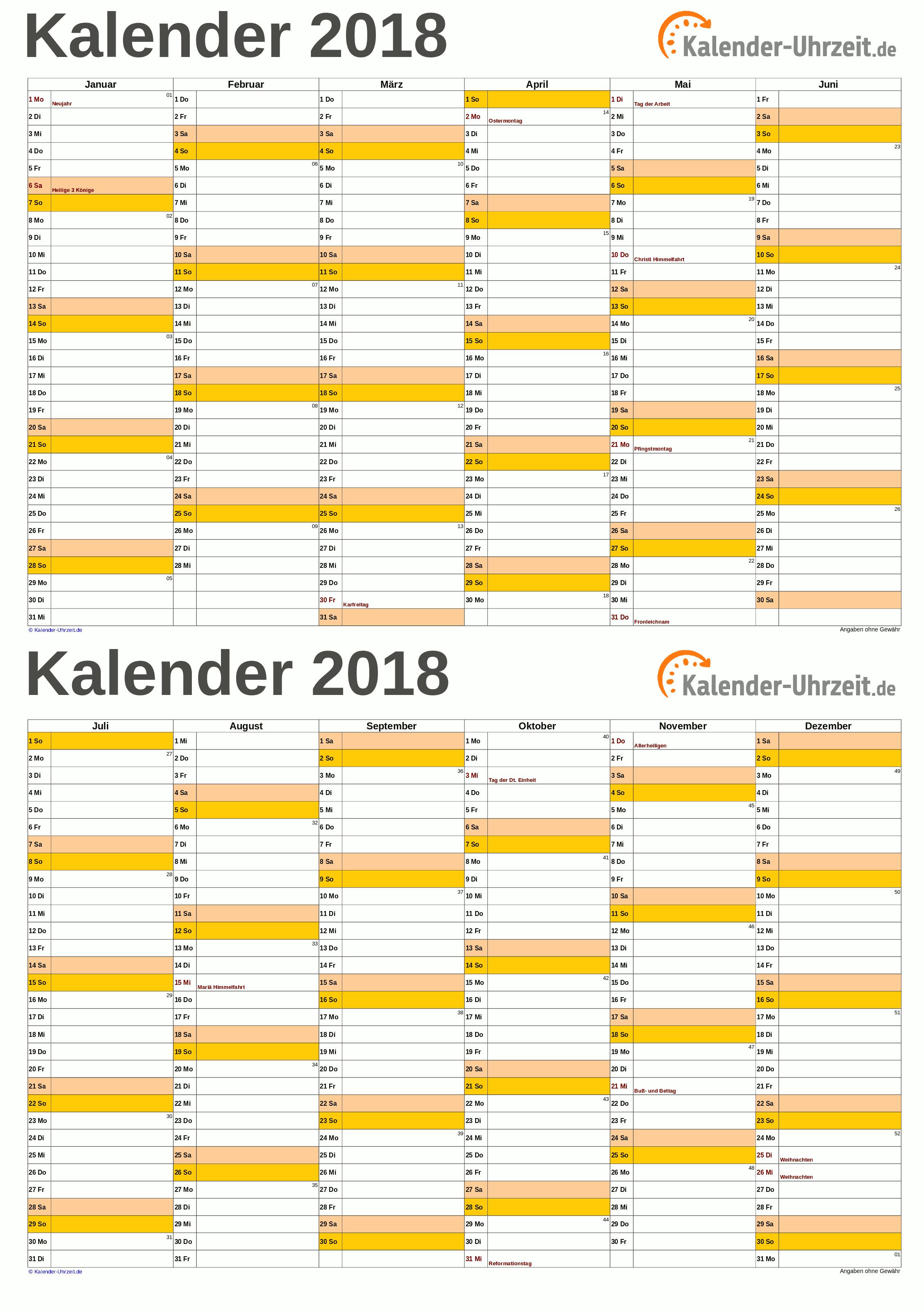 Kalender 2018 A5-Excel-Vorlage 1 Vorschau