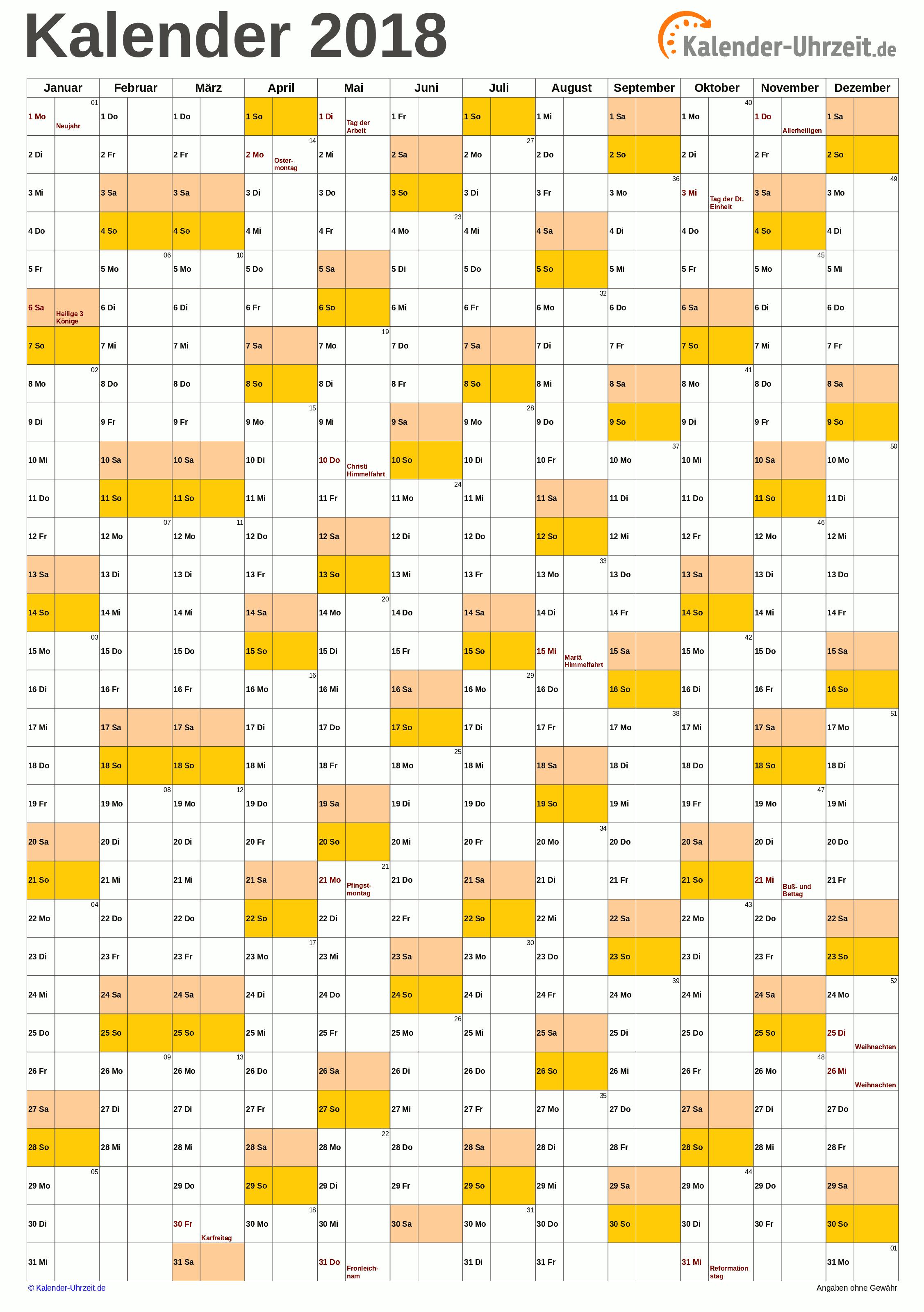 Jahreskalender 2018 A4-Hochformat V1 Vorschau