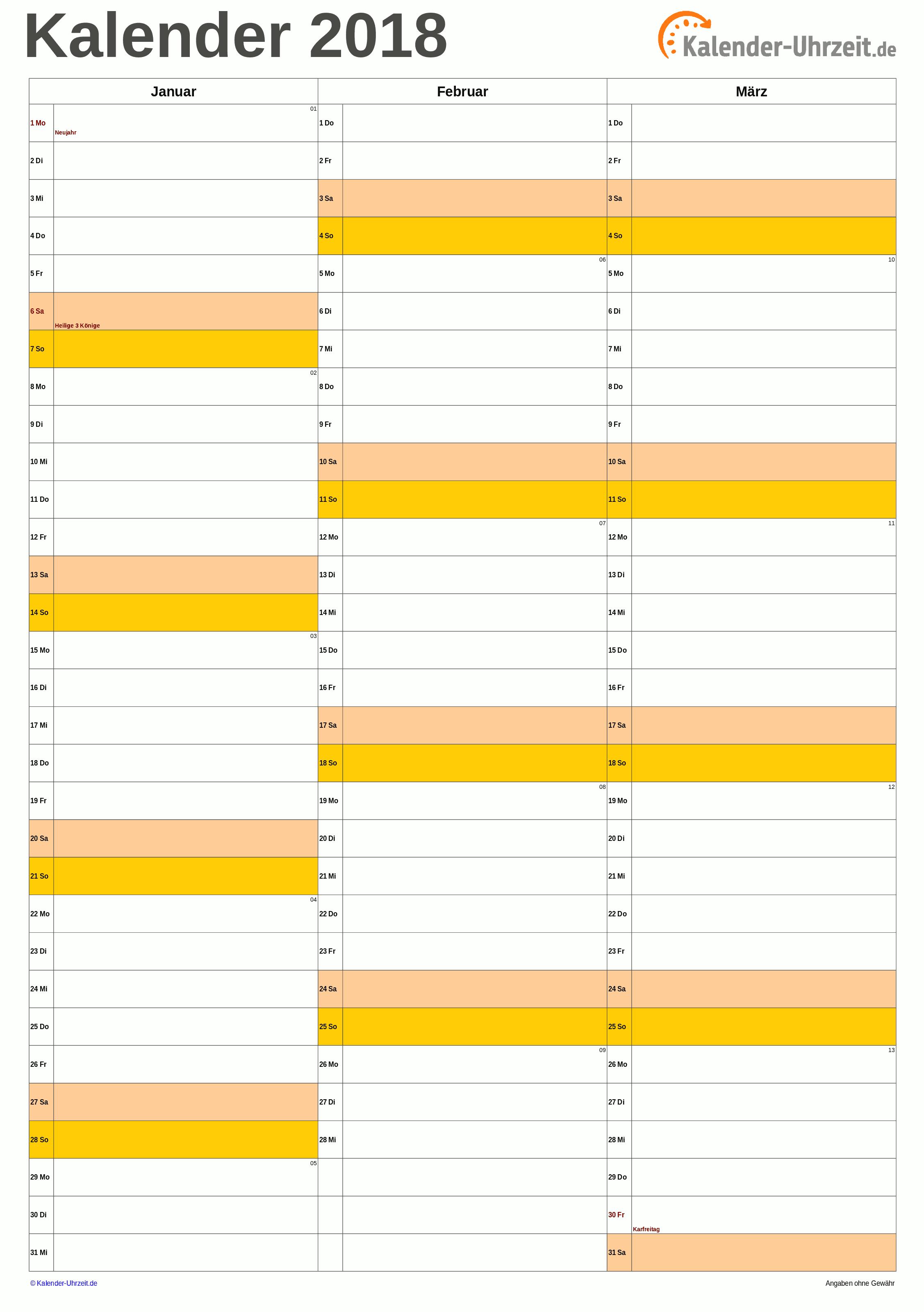 Quartalskalender 2018 A4-Hochformat Vorschau