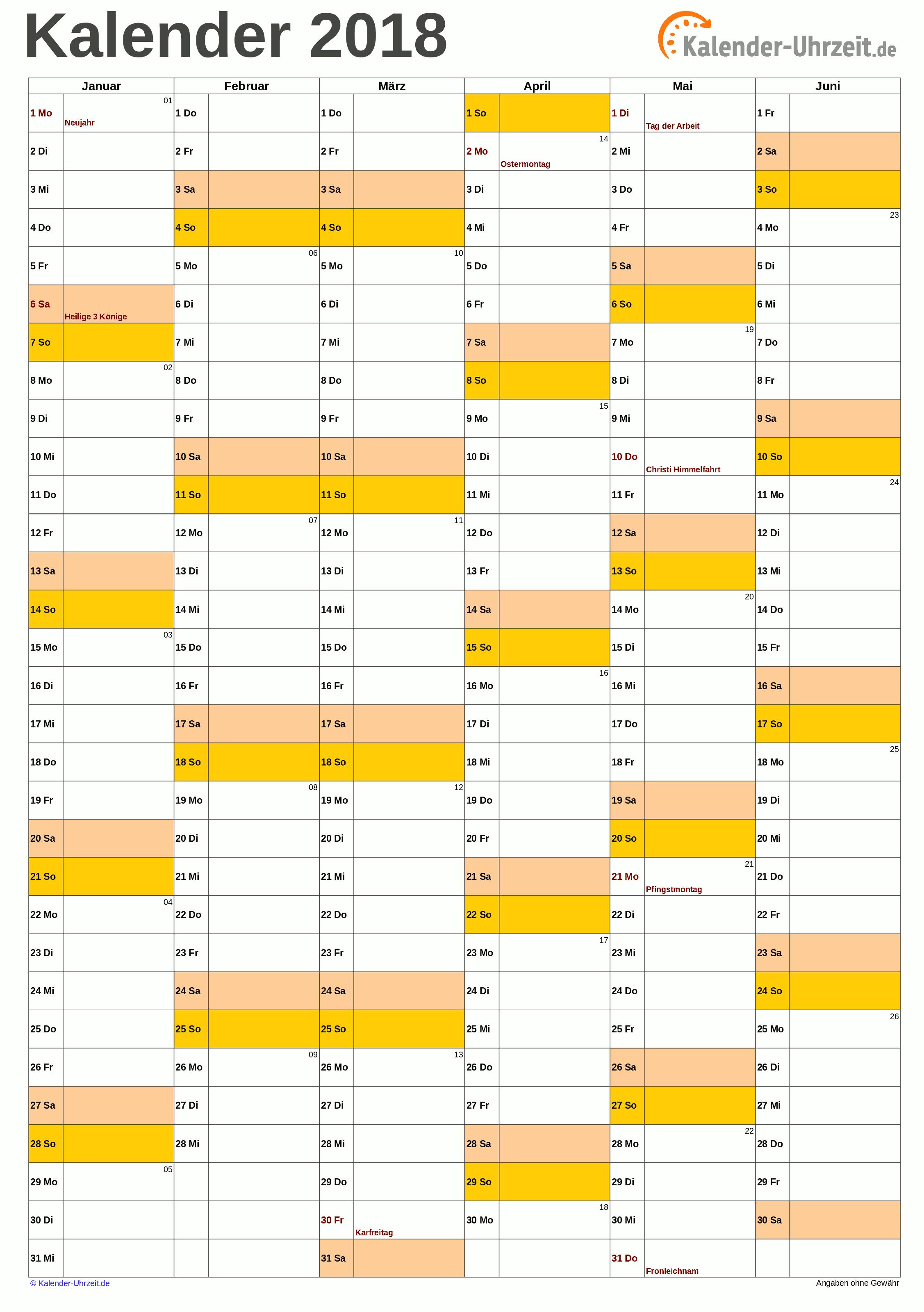 Halbjahreskalender 2018 A4-Hochformat Vorschau