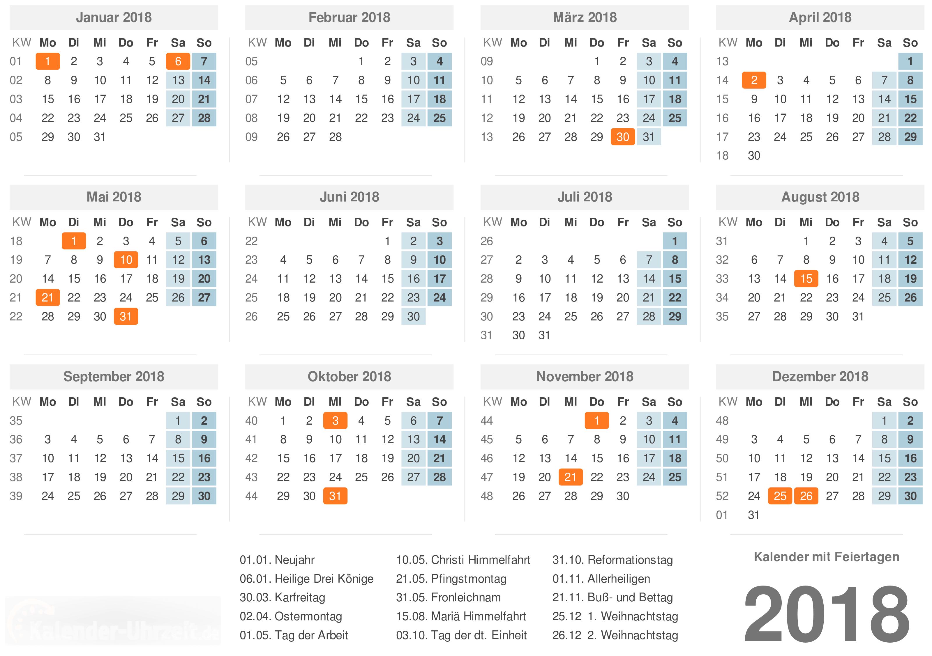 Kalender 2018 mit Feiertage-Übersicht zum Ausdrucken Vorlage 1