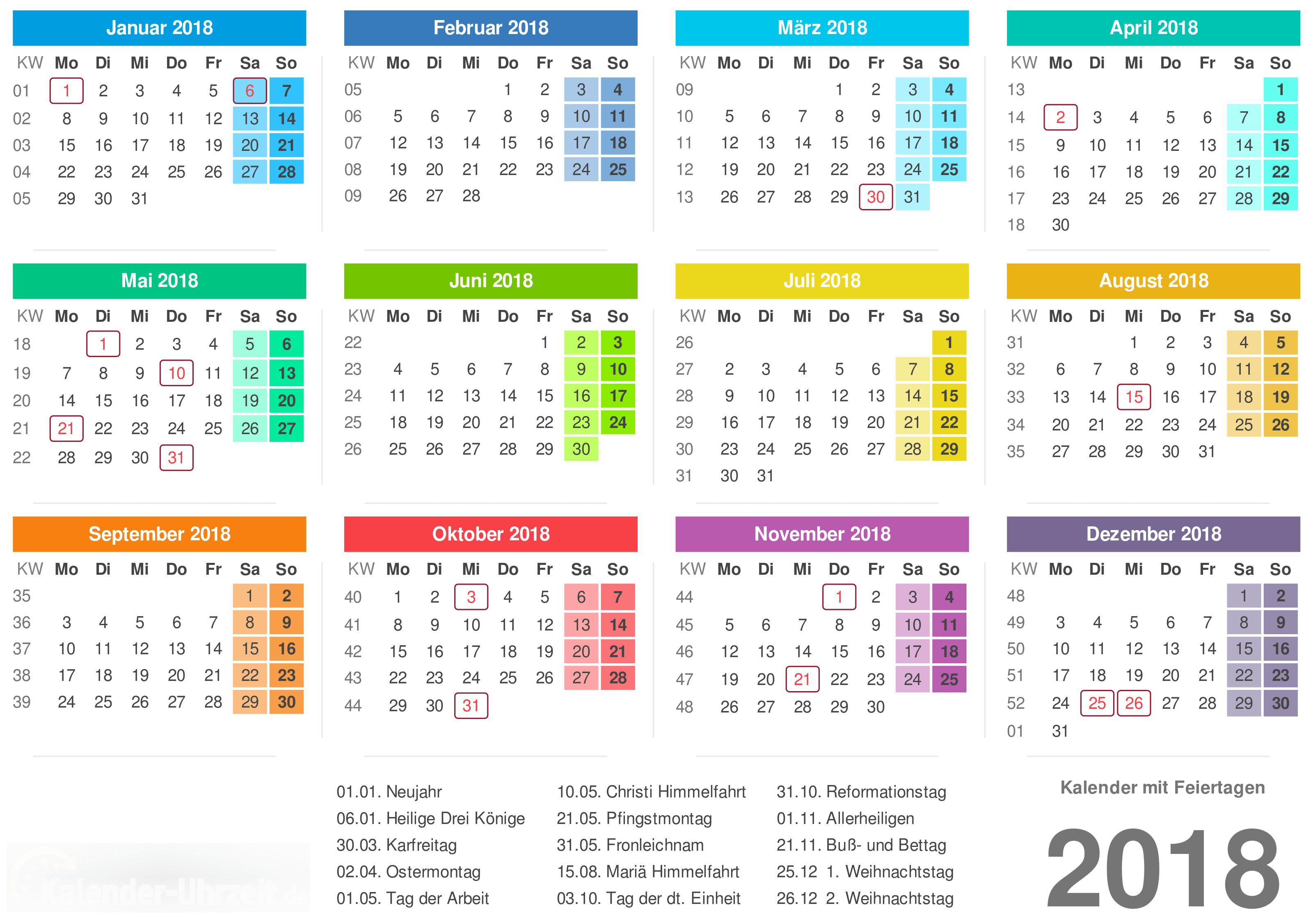 Kalender 2018 mit Feiertage-Übersicht zum Ausdrucken Vorlage 2
