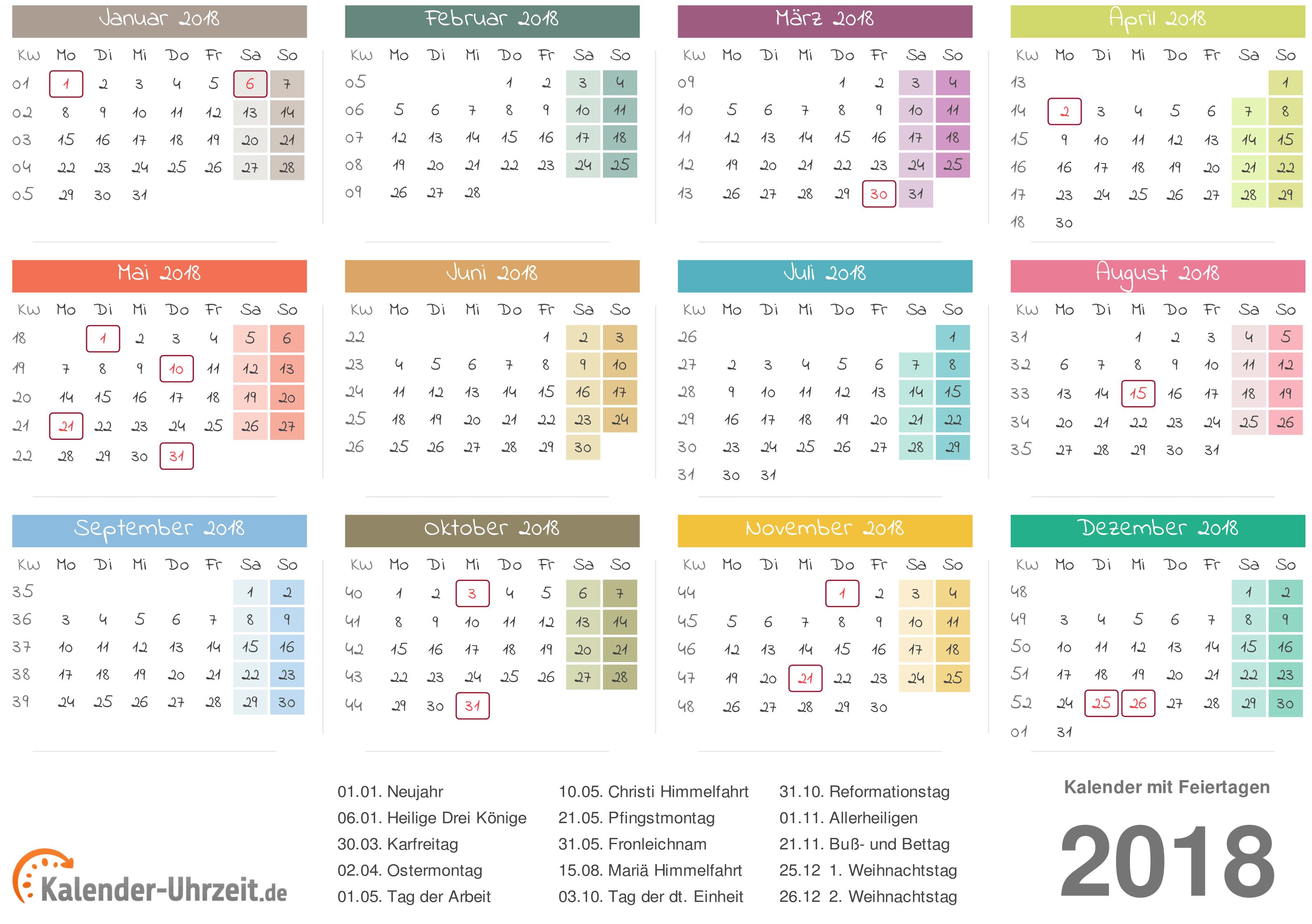 Kalender 2018 mit Feiertage-Übersicht zum Ausdrucken Vorlage 3