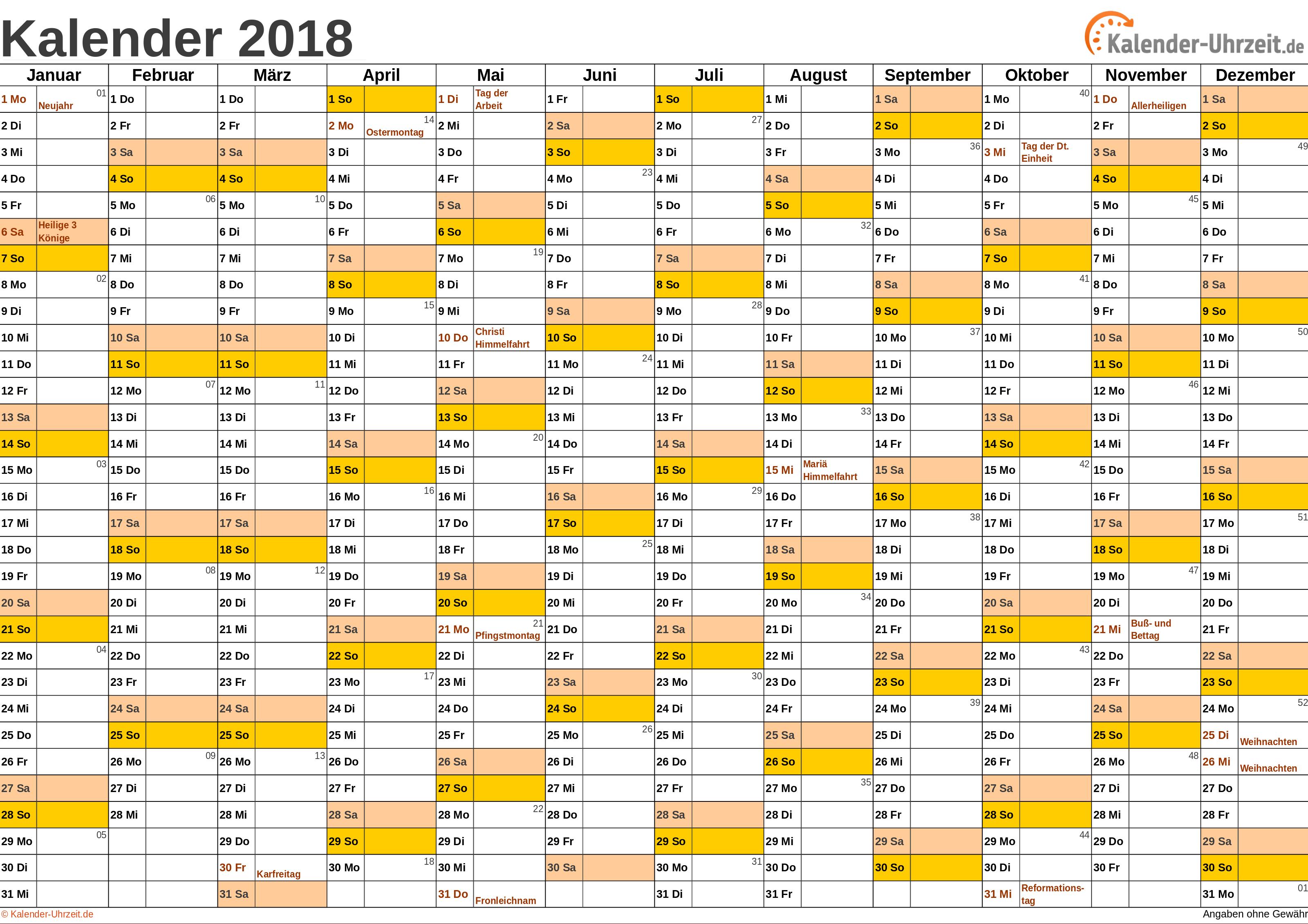 Kalender 2018Vorlage