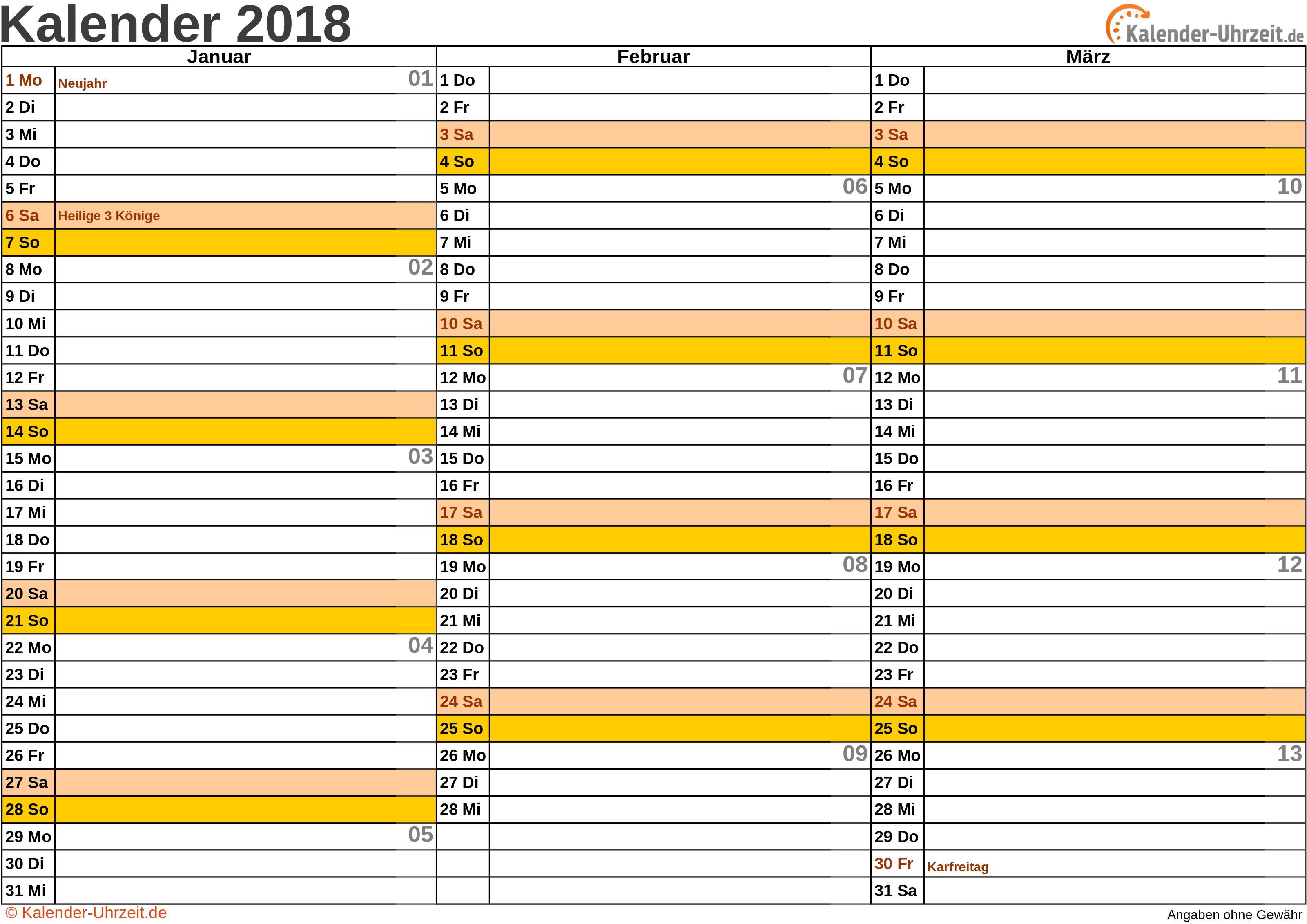 Quartalskalender 2018 - Excel-Vorlage 1 Vorschau